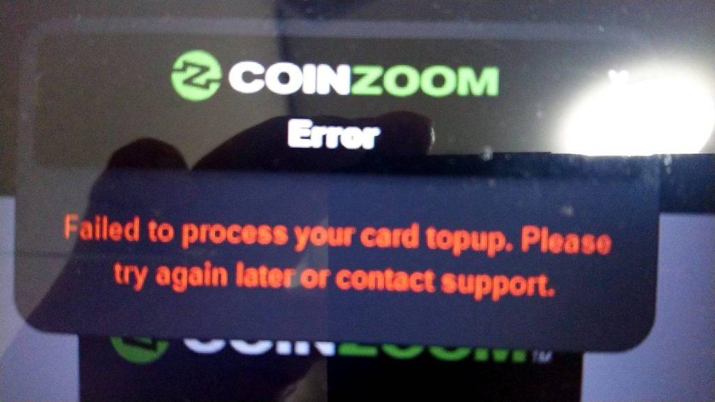 CoinnzoomのVISAデビットカードが使えない?